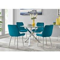 Furniturebox Uk - Selina Square Leg Round Dining Table And 4 Blue Pesaro Silver Leg Chairs