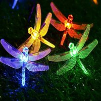 Semilits Solar String Lights 20Ft 30LED Dragonfly Shaped Waterproof Fairy Decoration Lighting for Indoor/Outdoor,Patio Christmas Party Holiday