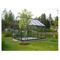 Serre 128 - 8.88 m² en verre trempé. Aluminium laqué gris - Sans Base