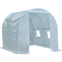 Serre de jardin tunnel surface sol 5 m² 2,5L x 2l x 2H m châssis tubulaire renforcé 18 mm 4 fenêtres blanc - Outsunny