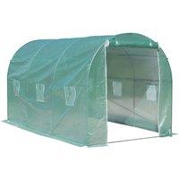 Serre de jardin tunnel surface sol 8 m² 4L x 2l x 2,10H m châssis tubulaire renforcé porte zippée 6 fenêtres enroulables vert - Outsunny