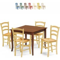 RUSTY Dining Set with 4 Chairs and Table for Kitchen Pub Restaurant 80x80 | Pickled Oak - AHD AMAZING HOME DESIGN