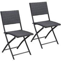 Casaria - Set de 2 chaises pliantes 'Rome' en polyrotin noir chaise de jardin confortable