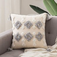 Set of 1 Cousssin Solid polyester cover and sweet pretty square pillowcase with decorative patterns for sofa bedroom living room white + gray 45x45cm