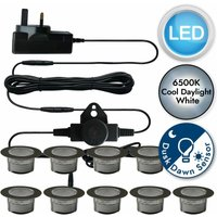 Set of 10 - 60mm Stainless Steel IP67 Cool White LED Decking Kit with Dusk til Dawn Photocell Sensor - FIRST CHOICE LIGHTING