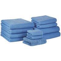 Beliani - Set of 11 Cotton Bathroom Towels Soft Zero Twist with Bath Mat Blue Areora
