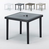 Set of 12 BOHEME Square Wicker Garden Tables For Restaurants And Bars 90x90cm | Black - GRAND SOLEIL