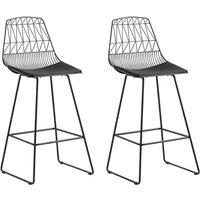 Beliani - Modern Set of 2 Metal Bar Chairs Counter Height Stool PU Leather Black Preston