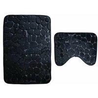 Set of 2 Anti Slip Bath Mat and Pedestal Rug for Bathroom Machine Washable (50 * 80 + 40 * 50cm) - Black - Noir
