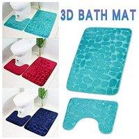 Set of 2 Anti Slip Bath Mat and Pedestal Rug for Bathroom Machine Washable (50 * 80 + 40 * 50cm) - Gray - Gris
