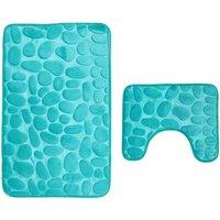 Set of 2 Anti Slip Bath Mat and Pedestal Rug for Bathroom Machine Washable (50 * 80 + 40 * 50cm) - Green - Vert