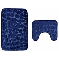 Set of 2 Anti Slip Bath Mat and Pedestal Rug for Bathroom Machine Washable (50 * 80 + 40 * 50cm) - Navy Blue - Bleu Marin