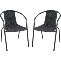 Set of 2 Black Garden Patio Metal Wicker Stacking Chairs