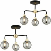 Set of 2 Black Paint and Smoked Glass 3 Light s