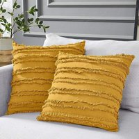 Set of 2 Boho Cushion Cover Cotton Linen Striped Jacquard Pattern Throw Pillow Case Decorative Cushion Cover for Chair Car Sofa and Bed Living Room