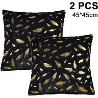 Set of 2 Bronzing Feather Pillow Case Cushion Cover Decorative Tassel Short Hair Pillow With Zipper Sofa Bedroom