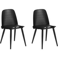 Modern Set of 2 Dining Table Chairs Kitchen Living Room Plastic Black Hamilton