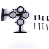 Set of 2 Double Hooks Curtain Rod Holders for Living Room Bedroom Curtain Rod Curtain Rod (Black) 2pcs