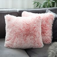 Set of 2 Faux Fur Cushion Cover Soft Fluffy Square Cushion Covers Decorative Plush Pillow Case for Living Room Sofa Bedroom Car 40 x 40cm Pink