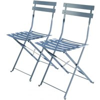 Set of 2 foldable bistro chairs - Emilia blue-grey - Thermo-lacquered steel - ALICES GARDEN