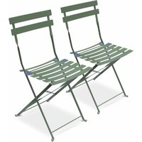 Set of 2 foldable bistro chairs - Emilia sage green - Thermo-lacquered steel - ALICES GARDEN