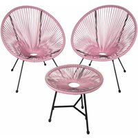 Tectake - Set of 2 Gabriella chairs with table - round table and chairs, glass table and chairs, table and 2 chairs - pink