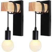 Set of 2 Industrial Vintage Indoor Wall Lamp E27 Wall Lamp Metal Shade with Wood Bracket for Living Room Hallway Bar (Black Socket)
