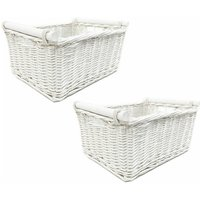 SET OF 2 Kitchen Log Fireplace Wicker Storage Basket With Handles Xmas Empty Hamper Basket [White,Set of 2 Small 31x25x16cm]