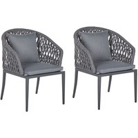 Beliani - Set of 2 Modern Outdoor Garden Dining Chairs Cushions Aluminium Grey Lipari