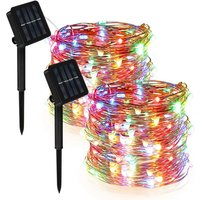 [Set of 2] Outdoor Solar String Lights for Garden, Balcony, Patio, Gate, Yard, Wedding, Party (Multicolor), 12m 120 LED Waterproof Copper Wire