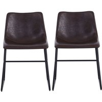Set of 2 PU Leather Dining Chairs, Dark Brown