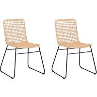Set of 2 Rattan Dining Chairs Sand Beige BERITO - BELIANI