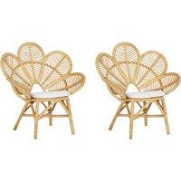 Set of 2 Rattan Peacock Chairs Beige FLORENTINE - BELIANI