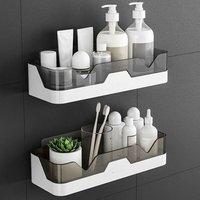 Zqyrlar - Set of 2 Shower Shelf, No Drill Shower Rack, Wall Mounted Shower Organizer Storage Baskets for Bathroom / Kitchen