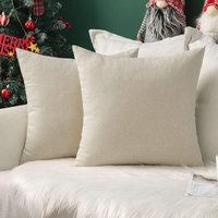 Set of 2 Soft Linen Cushion Covers Decorative Imitation Square Pillow Case for Bedroom Sofa with Invisible Zipper 50x50cm Beige 20x20 Inch
