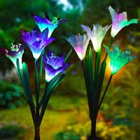 Set of 2 Solar Garden Lights 7 Color Changing Outdoor Bigger Flowers and Wider Solar Panel for Garden Patio, Pathway Party Holiday Decoration (Lil)