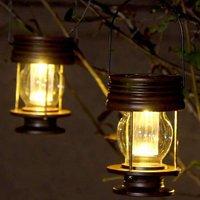 Set of 2 Solar Hanging Lanterns - Vintage LED Solar Lights with Handle for Driveway, Yard, Patio, Tree, Beach, Pavilion (Warm Light)