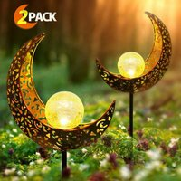 Set of 2 Solar Metal Outdoor Lights Moon Shape LED Stake Garden Decoration for Patio, Fireplace, Yard, Lawn