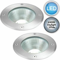 Set of 2 Stainless Steel LED Recessed Ground Lights