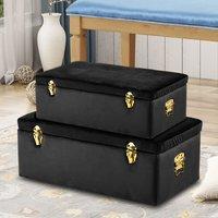 Set of 2 Trunks Velvet Storage Case Bedroom Living Room Case - LIVINGANDHOME