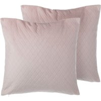 Set of 2 Velvet Cushions Diamond Quilted 45 x 45 Pink PASQUE