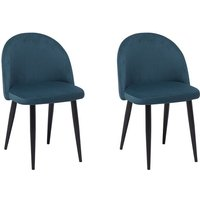 Set of 2 Velvet Dining Chairs Retro Curved Back Living Room Bedroom Blue Visalia