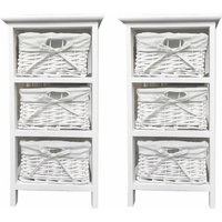 Set of 2 White 3 Chest of Drawer Hallway Bedroom Bedside Table Storage Cabinet - TOPFURNISHING