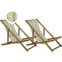 Beliani - Set of 2 Folding Deck Chairs Sun Loungers Yellow and Grey Light Acacia Anzio