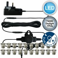 First Choice Lighting - Set of 20 - 15mm Stainless Steel IP67 Cool White LED Decking Kit with Dusk til Dawn Photocell Sensor