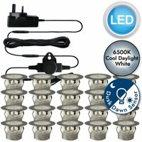 First Choice Lighting - Set of 20 - 45mm Stainless Steel IP67 Cool White LED Decking Kit with Dusk til Dawn Photocell Sensor
