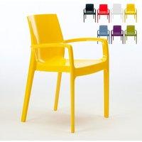 Set of 22 CREAM Dinner Chairs Armrests Polypropylene Indoor Bistro | Yellow - Grand Soleil