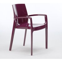 Set of 22 CREAM Grand Soleil Dinner Chairs Armrests Polypropylene Indoor Bistro | Purple