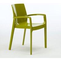 Set of 22 CREAM Grand Soleil Dinner Chairs Armrests Polypropylene Indoor Bistro | Green Anise