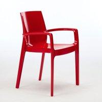 Set of 22 CREAM Dinner Chairs Armrests Polypropylene Indoor Bistro | Red - Grand Soleil